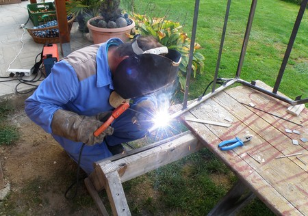 worker site - detail of a man by welding Stock Photo - 7787165