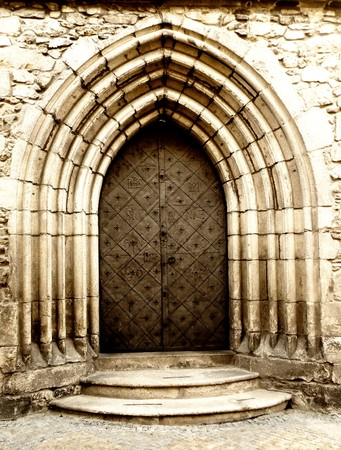 detail of an old church or castle door photo