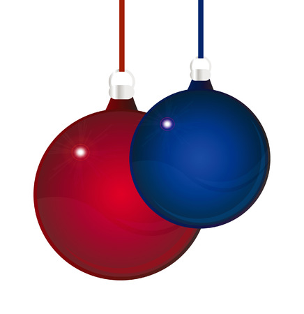 nice illustration - two glossy red and blue christmas balls isolated over white background Vector