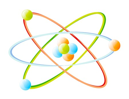 atomic nucleus: detail of atom isolated over white background