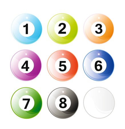 set of glossy billiard balls isolated over white background photo