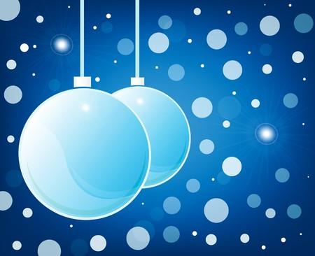 blue christmas glossy balls on blue background photo