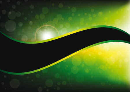 green and black: abstract bokeh green and yellow background with space motive with wave Illustration