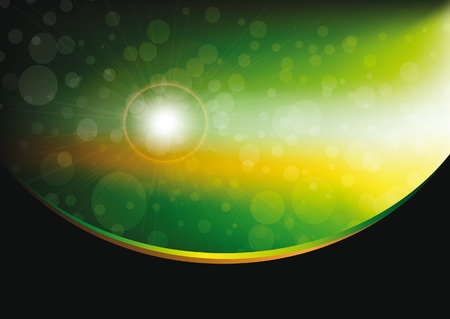 abstract bokeh green and yellow background with space motive with wave Vector