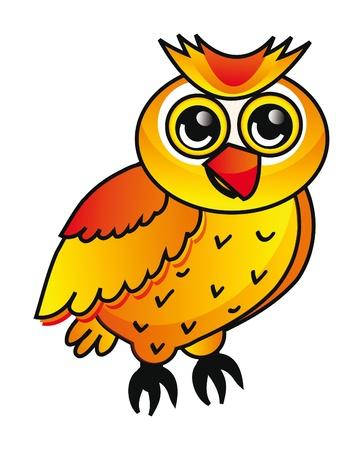 nice illustration of orange cartoon owl isolated on white background Vektorové ilustrace
