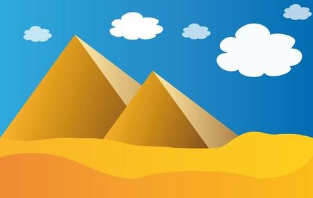 Ilustración de las pirámides de Egipto con sol y cielo azul