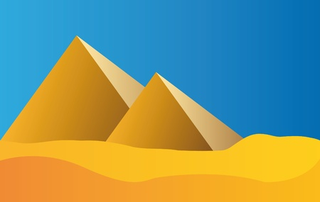 illustration of pyramids in egypt with blue sky and sun Vector