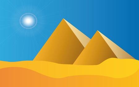 pyramide egypte: Illustration des pyramides en Egypte avec ciel bleu et le soleil