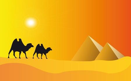 일몰 효과와 함께 이집트에서 피라미드의 그림 일러스트