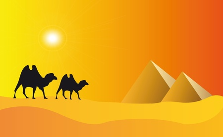 illustration of pyramids in egypt with sunset effect