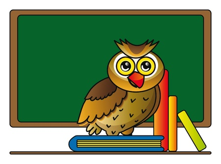 illustration of cartoon owl with books in school isolated over white background Stock Vector - 8982784