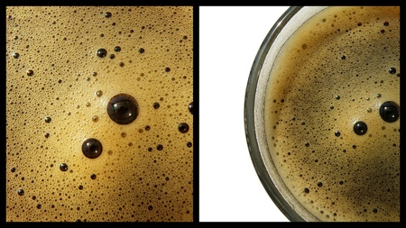 nice coffee collage with detail of cup isolated over white and coffee background photo