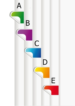 detail of colorful diary bookmarks isolated over white background