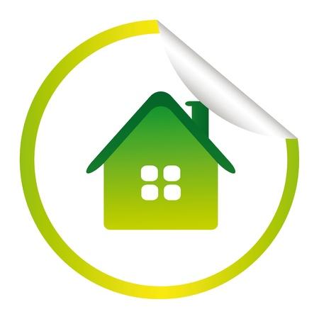 modern huis: groene ecologie huis sticker geïsoleerd op witte achtergrond Stock Illustratie