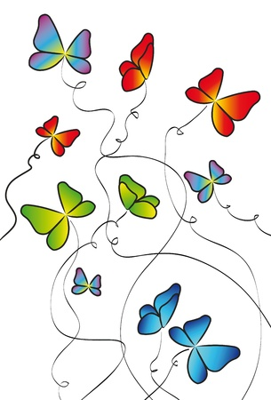 colorful butterflies elements for design isolated over white background