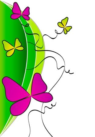 白地に分離された設計のためのカラフルな蝶の要素