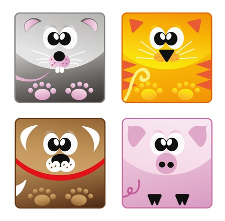 Set of cartoon happy animal set - mouse, cat, dog and pig isolation over white background Stock Vector - 10441993