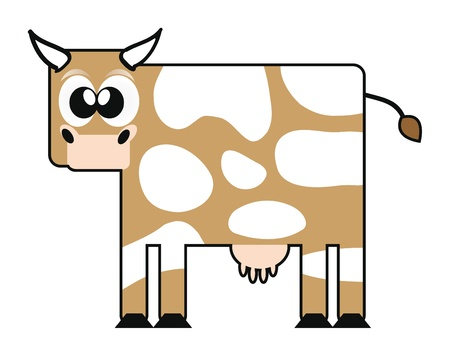 illustration of happy cartoon cow isolation over white Vector