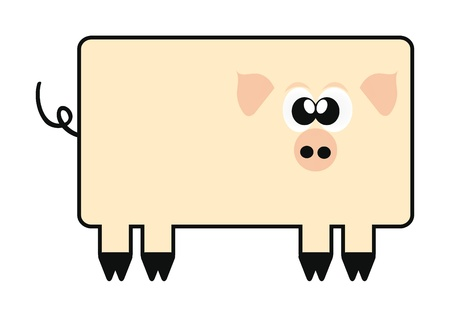 coin box: illustration of happy crazy cartoon pig isolation over white Illustration