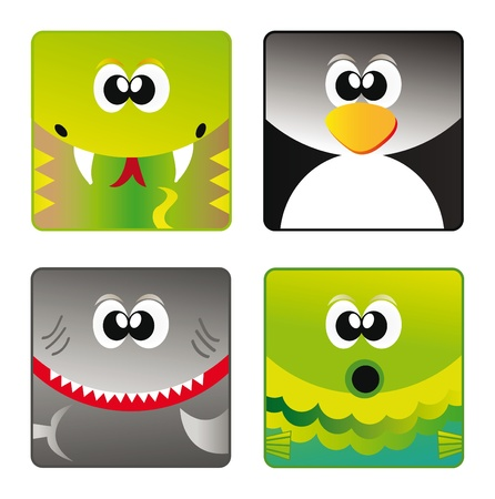 Set of cartoon happy animal set - snake, penguin, shark and fish isolation over white background Vector