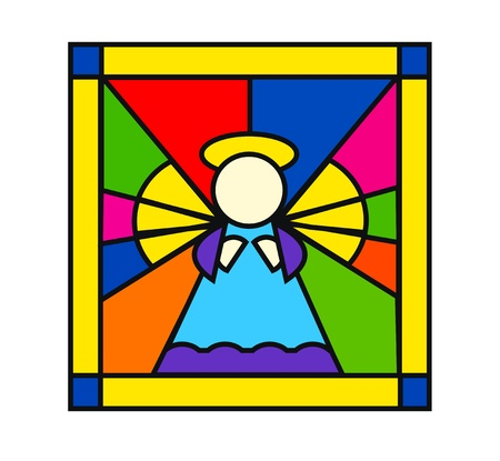 church window: nice illustration of angel in stained glass isolation over white background Illustration