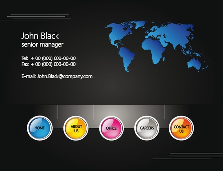 web site design template for company with black background and map of the world Stock Vector - 10625314
