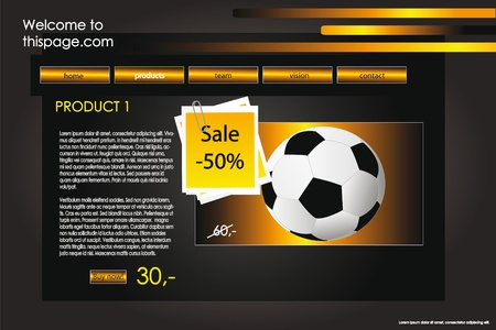 pagination: web site design template for company with black background and gold icons Illustration