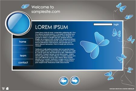 site web: modello di struttura del sito Web per societ� con sfondo blu, cornice bianca, frecce e farfalle