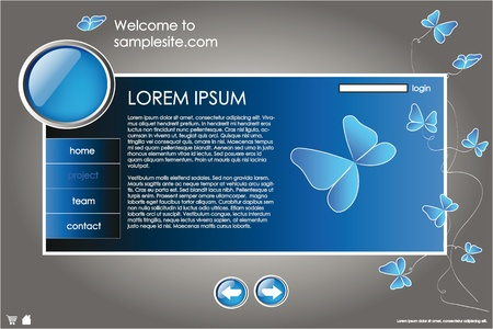 webpage: web site design template for company with blue background, white frame, arrows and butterflies