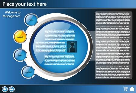 plantilla de diseño de sitio Web para la empresa con fondo negro y brillante botones Ilustración de vector