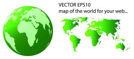 green illustration of 3D globe and map of the world isolated over white background