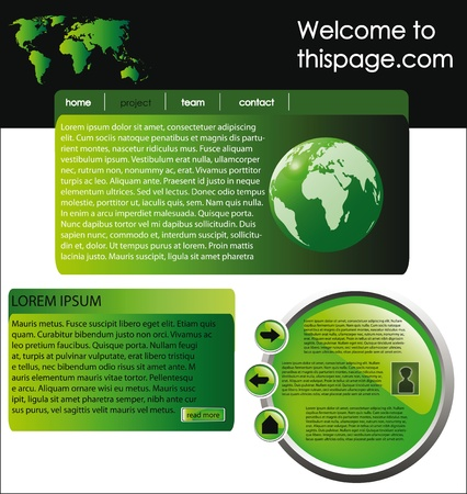 nice web site template banner with frame in green and yellow color Stock Vector - 10676490