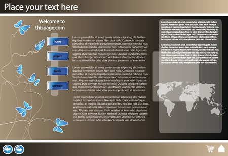 platinum background: web site design template for company with platinum background and map of the world Illustration
