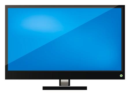 flat screen tv: ilustraci�n de televisi�n LCD, la pantalla o monitor aisladas sobre fondo blanco