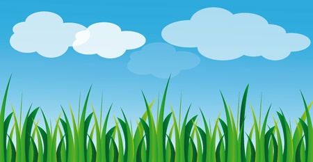 illustration of green gras and blue sky with white clouds in summer time Illustration