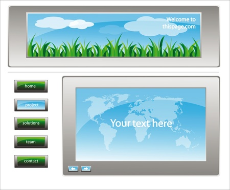 web site design template for company with white background and map of the world and landscape frame Stock Vector - 10676498