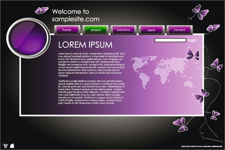 web site design template for company with purple background, white frame, arrows and butterflies