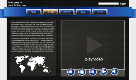web site design template for company with dark background, white frame, arrows, map of the world and video player Vector