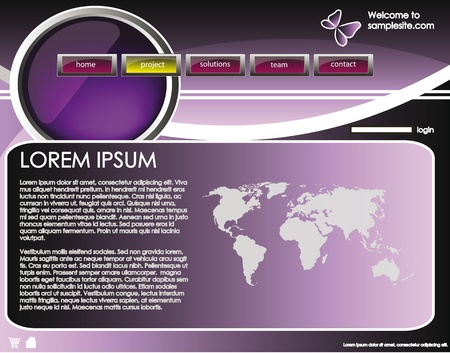 web site design template for company with purple background, white frame, arrows and world map Illustration