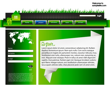 web site design template for company with green background, white origami frame, arrow and world map