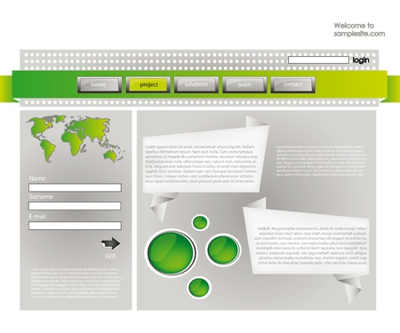 web site design template for company with silver background, frame, arrow and world map Vector