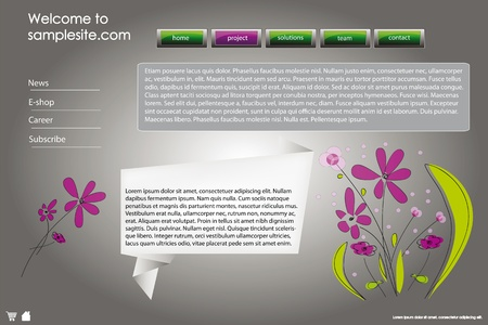 pagination: web site design template for company with frame, glossy buttons and origami template