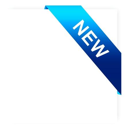 vector illustration of blue ribbon banner on white paper