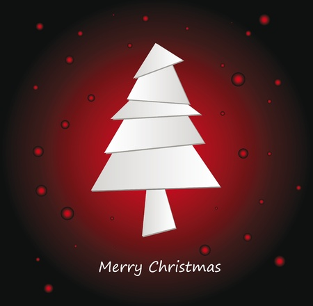 Nice Illustration of origami christmas tree on dark background Vector