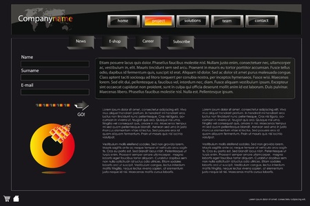 web site design: web site design template for company with dark background, white frame, arrows and world map