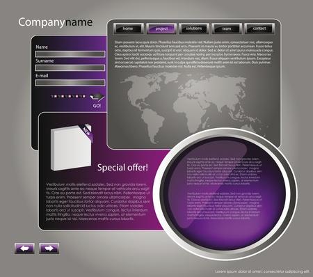 site web: web design modello di sito per l'azienda con sfondo viola, cornice bianca, frecce e mappa del mondo