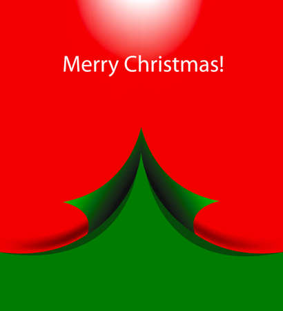 Merry christmas greeting card with green background and christmas tree Vector