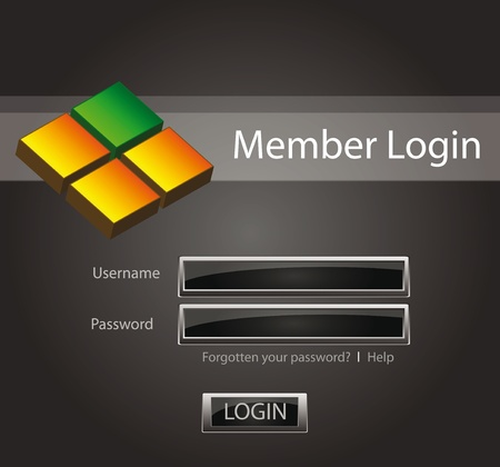 Login background with glossy buttons and 3D object