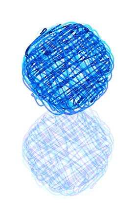 vector scribble ball with reflection isolated over white background Vector