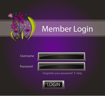 Login vector background with glossy buttons and abstract flower Vector